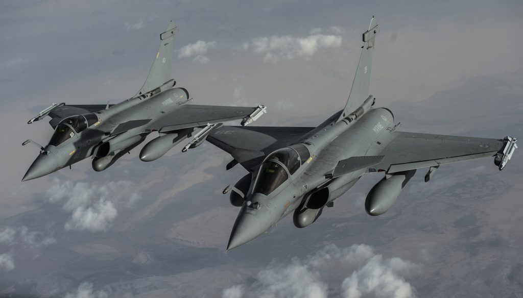 Two French F-2 Rafales fly over Iraq in support of Operation Inherent Resolve, Jan. 8, 2016. OIR is the coalition intervention against the Islamic State of Iraq and the Levant. (U.S. Air Force photo by Tech. Sgt. Nathan Lipscomb)