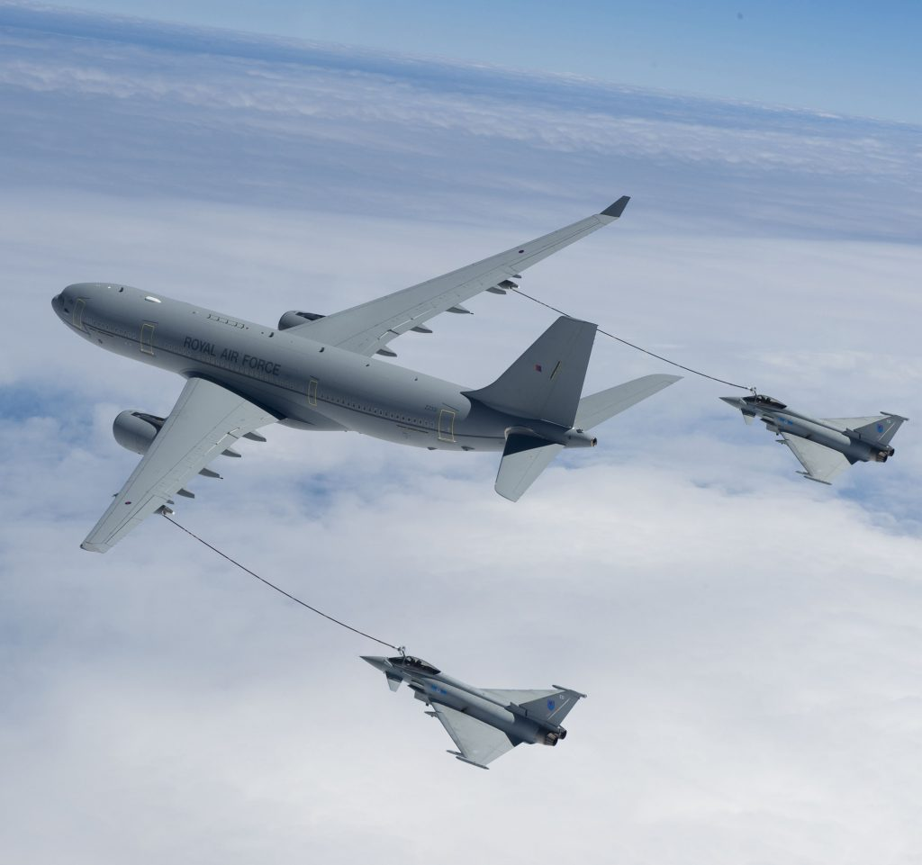 RAF 10 Sqn Voyager Tanker Air-Air refuelling RAF Tornado GR4 from 617 & 12 Sqn and EF Typhoon from 3 & 6 Sqn.